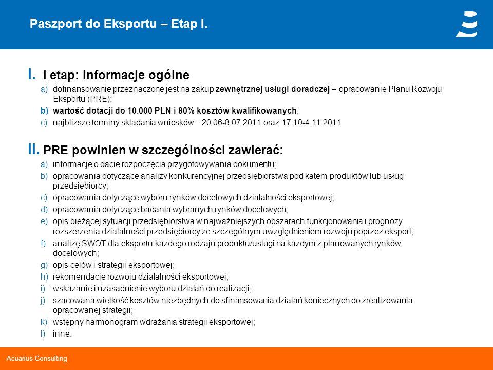 Acuarius Consulting Paszport do Eksportu – Etap I. I. I etap: informacje ogólne a)dofinansowanie przeznaczone jest na zakup zewnętrznej usługi doradcz
