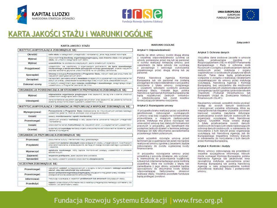 Fundacja Rozwoju Systemu Edukacji |www.frse.org.pl KARTA JAKOŚCI STAŻU i WARUNKI OGÓLNE