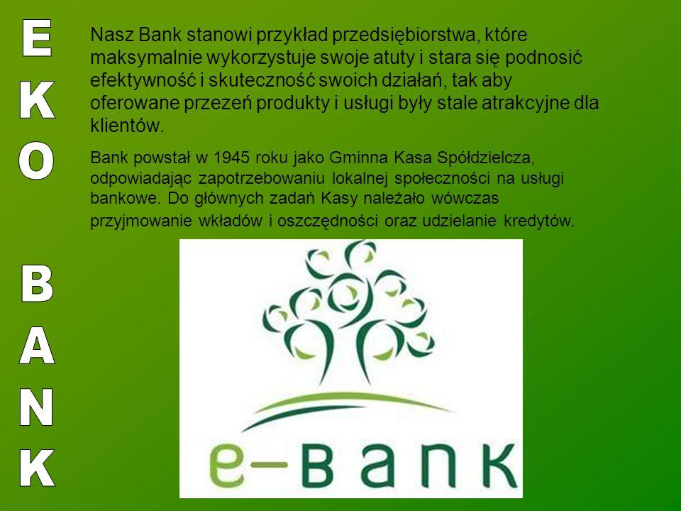 Nasz Bank stanowi przykład przedsiębiorstwa, które maksymalnie wykorzystuje swoje atuty i stara się podnosić efektywność i skuteczność swoich działań, tak aby oferowane przezeń produkty i usługi były stale atrakcyjne dla klientów.