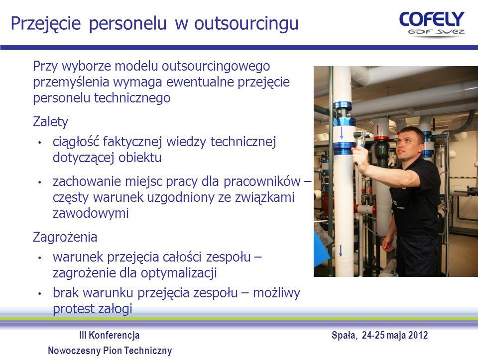 III Konferencja Spała, 24-25 maja 2012 Nowoczesny Pion Techniczny Przejęcie personelu w outsourcingu Przy wyborze modelu outsourcingowego przemyślenia