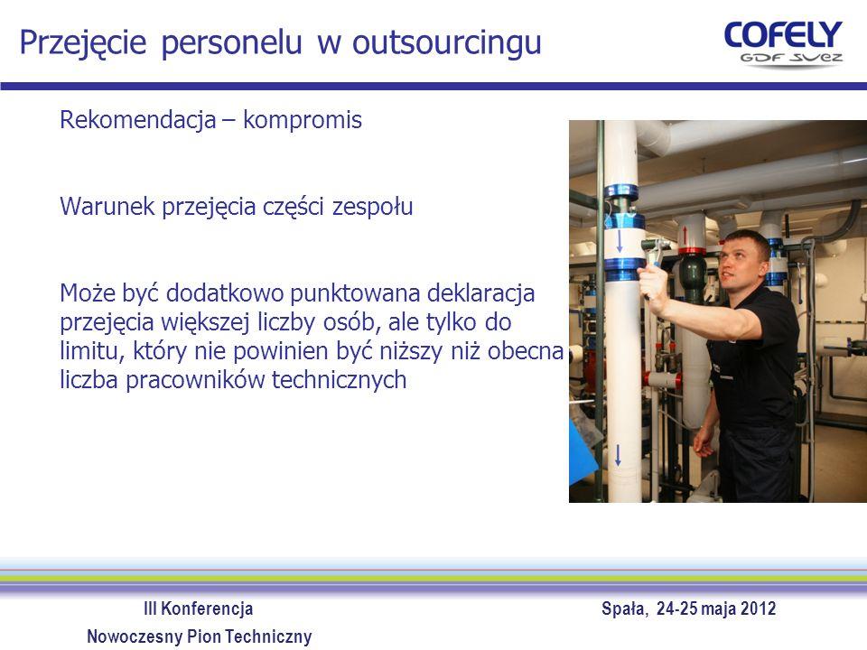 III Konferencja Spała, 24-25 maja 2012 Nowoczesny Pion Techniczny Przejęcie personelu w outsourcingu Rekomendacja – kompromis Warunek przejęcia części