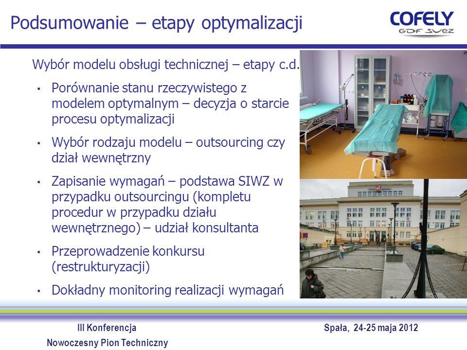 III Konferencja Spała, 24-25 maja 2012 Nowoczesny Pion Techniczny Podsumowanie – etapy optymalizacji Wybór modelu obsługi technicznej – etapy c.d. Por