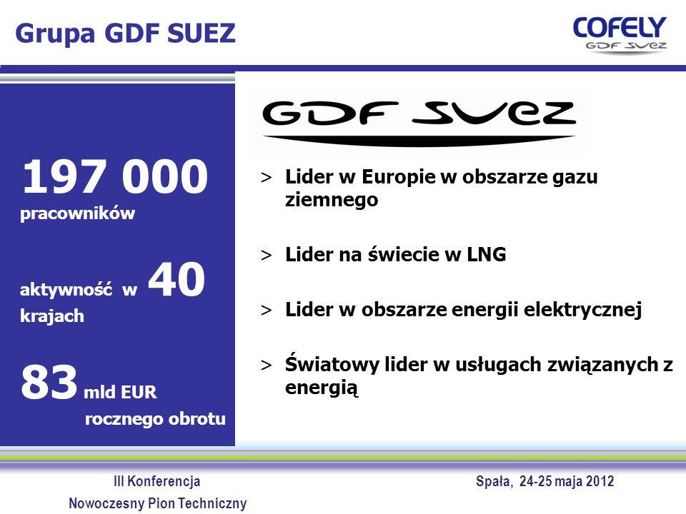 III Konferencja Spała, 24-25 maja 2012 Nowoczesny Pion Techniczny GDF SUEZ >Lider w Europie w obszarze gazu ziemnego >Lider na świecie w LNG >Lider w