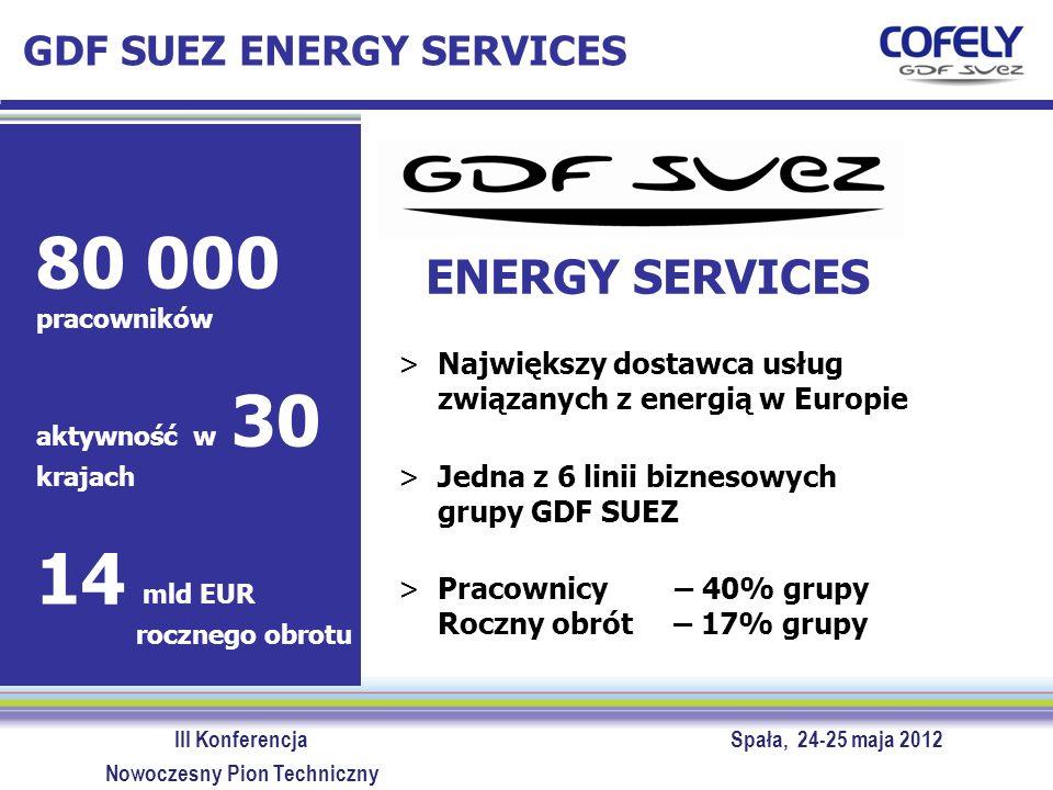 III Konferencja Spała, 24-25 maja 2012 Nowoczesny Pion Techniczny ENERGY SERVICES >Największy dostawca usług związanych z energią w Europie >Jedna z 6