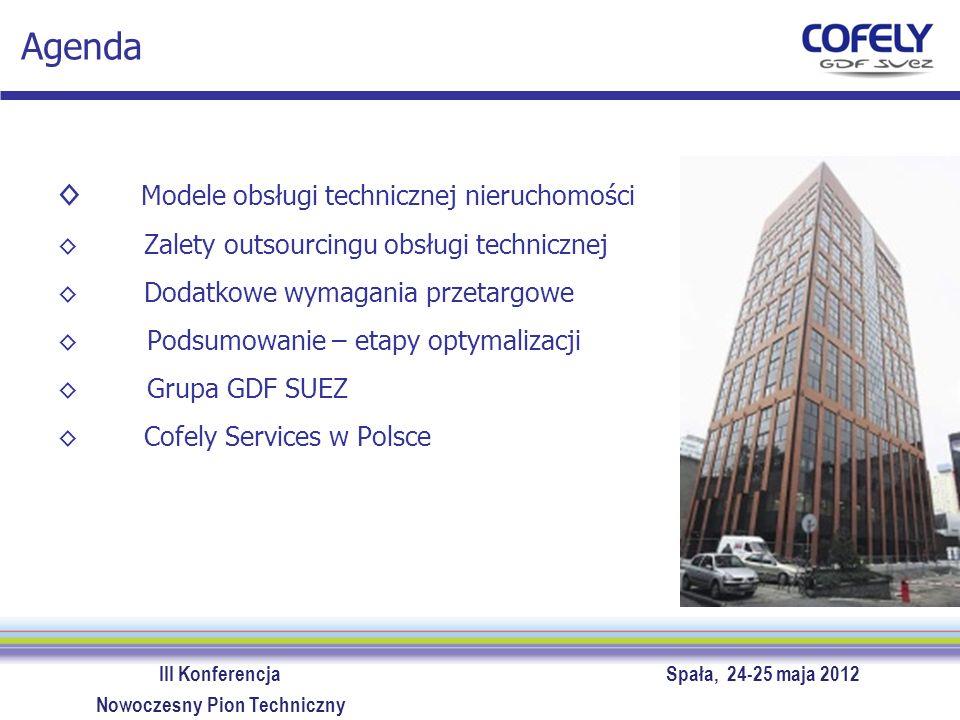 III Konferencja Spała, 24-25 maja 2012 Nowoczesny Pion Techniczny Agenda Modele obsługi technicznej nieruchomości Zalety outsourcingu obsługi technicz