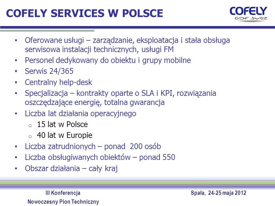 III Konferencja Spała, 24-25 maja 2012 Nowoczesny Pion Techniczny COFELY SERVICES W POLSCE Oferowane usługi – zarządzanie, eksploatacja i stała obsług