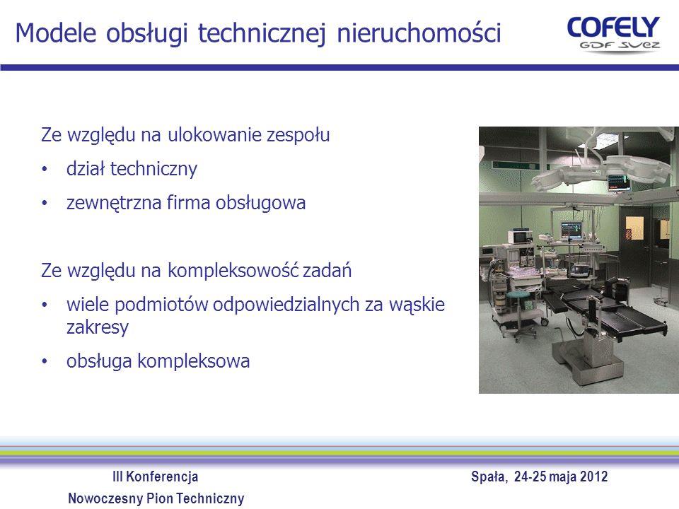 III Konferencja Spała, 24-25 maja 2012 Nowoczesny Pion Techniczny Modele obsługi technicznej nieruchomości Ze względu na ulokowanie zespołu dział tech