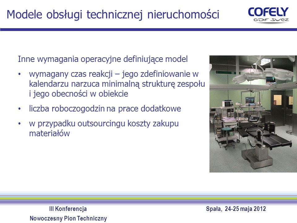 III Konferencja Spała, 24-25 maja 2012 Nowoczesny Pion Techniczny Modele obsługi technicznej nieruchomości Inne wymagania operacyjne definiujące model