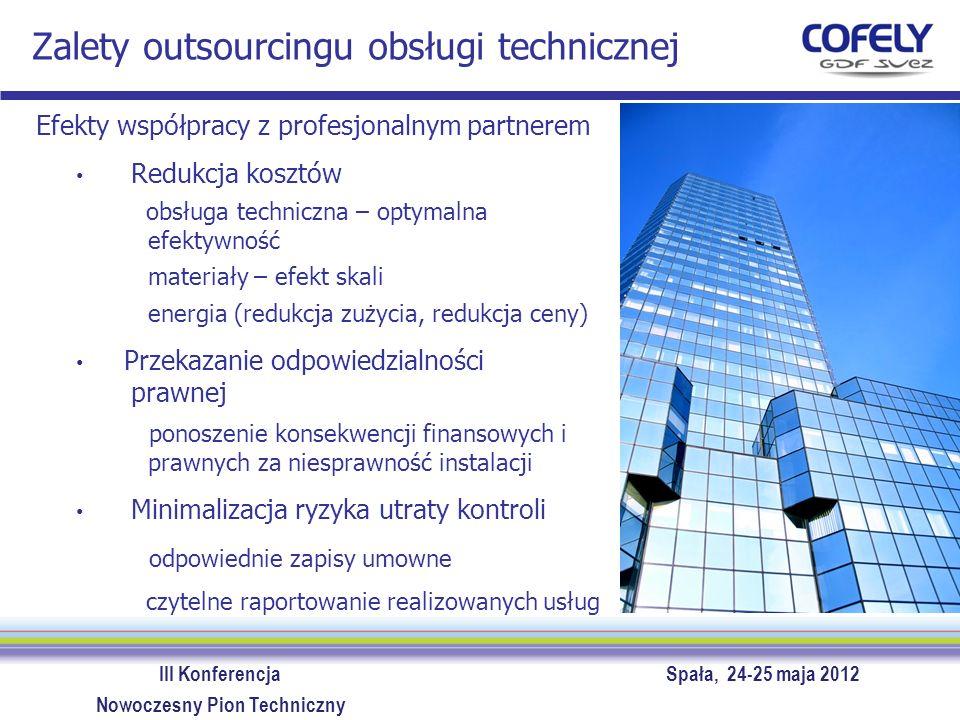 III Konferencja Spała, 24-25 maja 2012 Nowoczesny Pion Techniczny Zalety outsourcingu obsługi technicznej Efekty współpracy z profesjonalnym partnerem