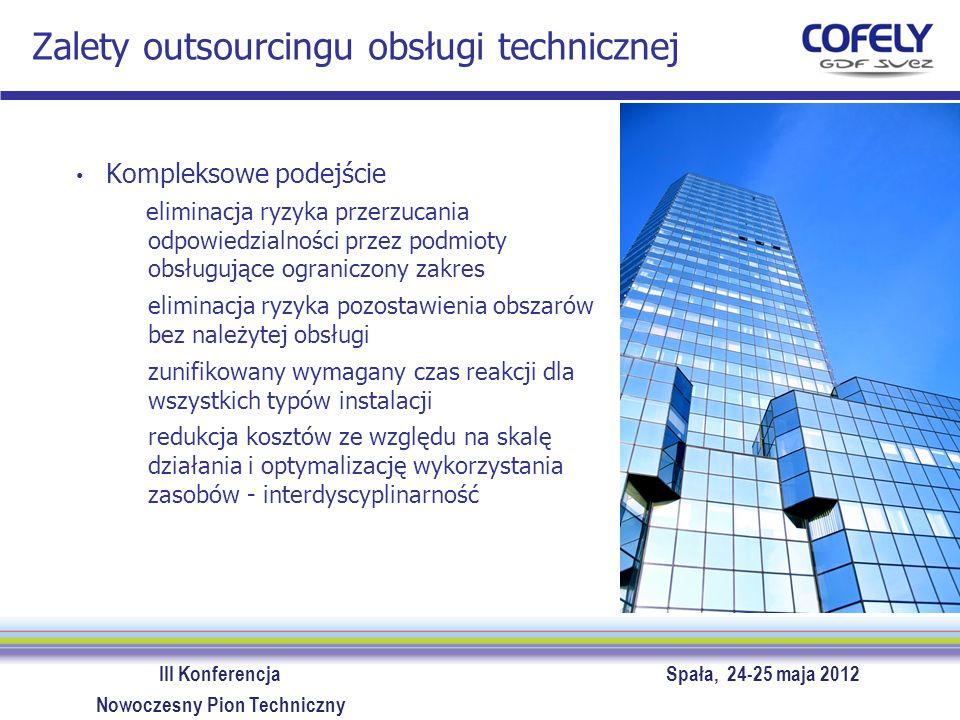 III Konferencja Spała, 24-25 maja 2012 Nowoczesny Pion Techniczny Zalety outsourcingu obsługi technicznej Kompleksowe podejście eliminacja ryzyka prze