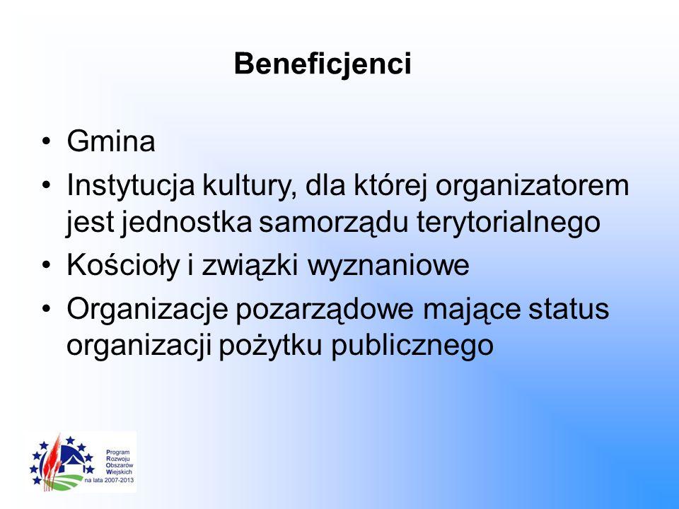 Beneficjenci Gmina Instytucja kultury, dla której organizatorem jest jednostka samorządu terytorialnego Kościoły i związki wyznaniowe Organizacje poza
