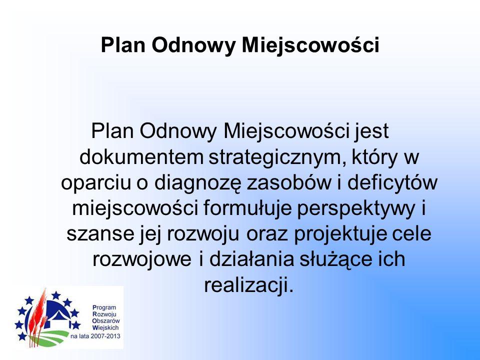 Plan Odnowy Miejscowości Plan Odnowy Miejscowości jest dokumentem strategicznym, który w oparciu o diagnozę zasobów i deficytów miejscowości formułuje