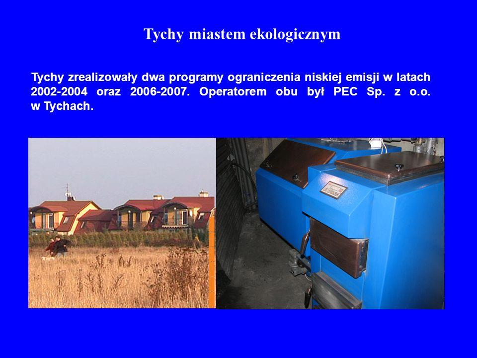 Tychy miastem ekologicznym Tychy zrealizowały dwa programy ograniczenia niskiej emisji w latach 2002-2004 oraz 2006-2007. Operatorem obu był PEC Sp. z