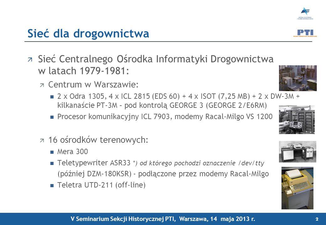 Sieć Centralnego Ośrodka Informatyki Drogownictwa w latach 1979-1981: Centrum w Warszawie: 2 x Odra 1305, 4 x ICL 2815 (EDS 60) + 4 x ISOT (7,25 MB) + 2 x DW-3M + kilkanaście PT-3M – pod kontrolą GEORGE 3 (GEORGE 2/E6RM) Procesor komunikacyjny ICL 7903, modemy Racal-Milgo VS 1200 16 ośrodków terenowych: Mera 300 Teletypewriter ASR33 *) od którego pochodzi oznaczenie /dev/tty (później DZM-180KSR) - podłączone przez modemy Racal-Milgo Teletra UTD-211 (off-line) Sieć dla drogownictwa 2