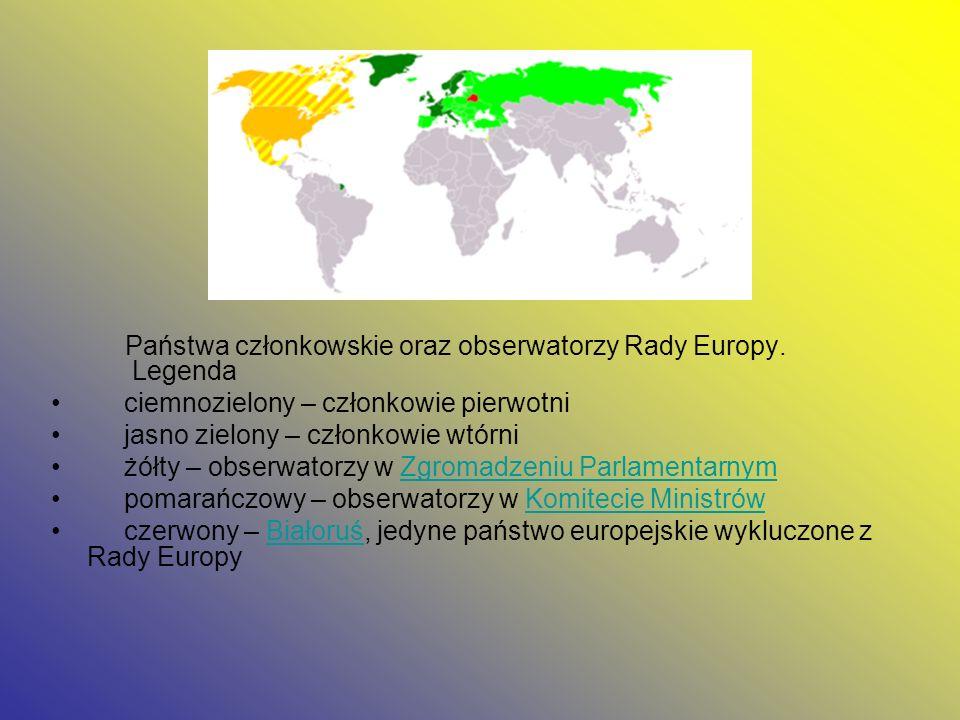 Państwa członkowskie oraz obserwatorzy Rady Europy. Legenda ciemnozielony – członkowie pierwotni jasno zielony – członkowie wtórni żółty – obserwatorz