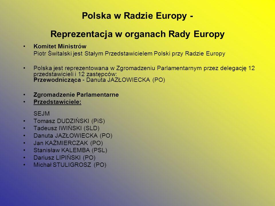 Polska w Radzie Europy - Reprezentacja w organach Rady Europy Komitet Ministrów Piotr Świtalski jest Stałym Przedstawicielem Polski przy Radzie Europy
