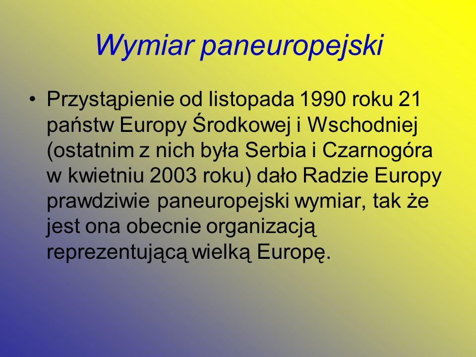 Wymiar paneuropejski Przystąpienie od listopada 1990 roku 21 państw Europy Środkowej i Wschodniej (ostatnim z nich była Serbia i Czarnogóra w kwietniu