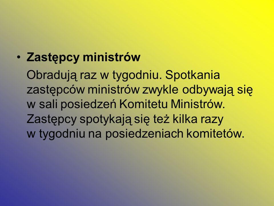 Zastępcy ministrów Obradują raz w tygodniu. Spotkania zastępców ministrów zwykle odbywają się w sali posiedzeń Komitetu Ministrów. Zastępcy spotykają