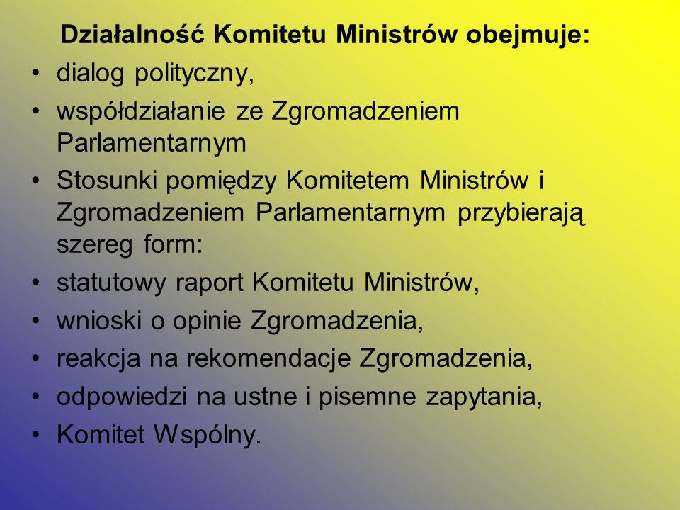 Działalność Komitetu Ministrów obejmuje: dialog polityczny, współdziałanie ze Zgromadzeniem Parlamentarnym Stosunki pomiędzy Komitetem Ministrów i Zgr