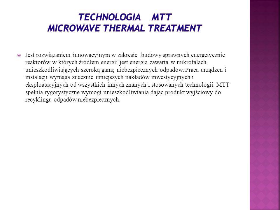 Jest rozwiązaniem innowacyjnym w zakresie budowy sprawnych energetycznie reaktorów w których źródłem energii jest energia zawarta w mikrofalach uniesz