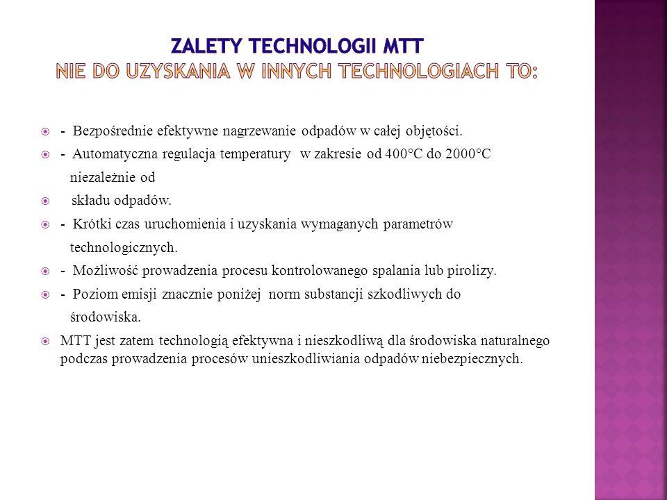 - Bezpośrednie efektywne nagrzewanie odpadów w całej objętości. - Automatyczna regulacja temperatury w zakresie od 400°C do 2000°C niezależnie od skła