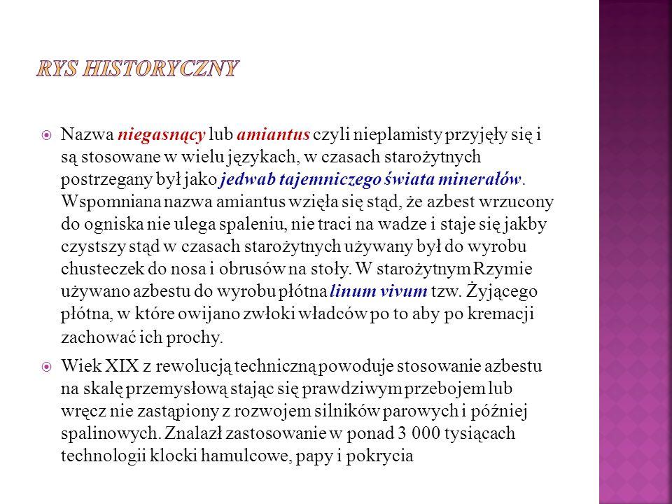 W roku 1997 wprowadzono ustawę zakazująca stosowania na terytorium Polski wyrobów zawierających azbest (Dz.
