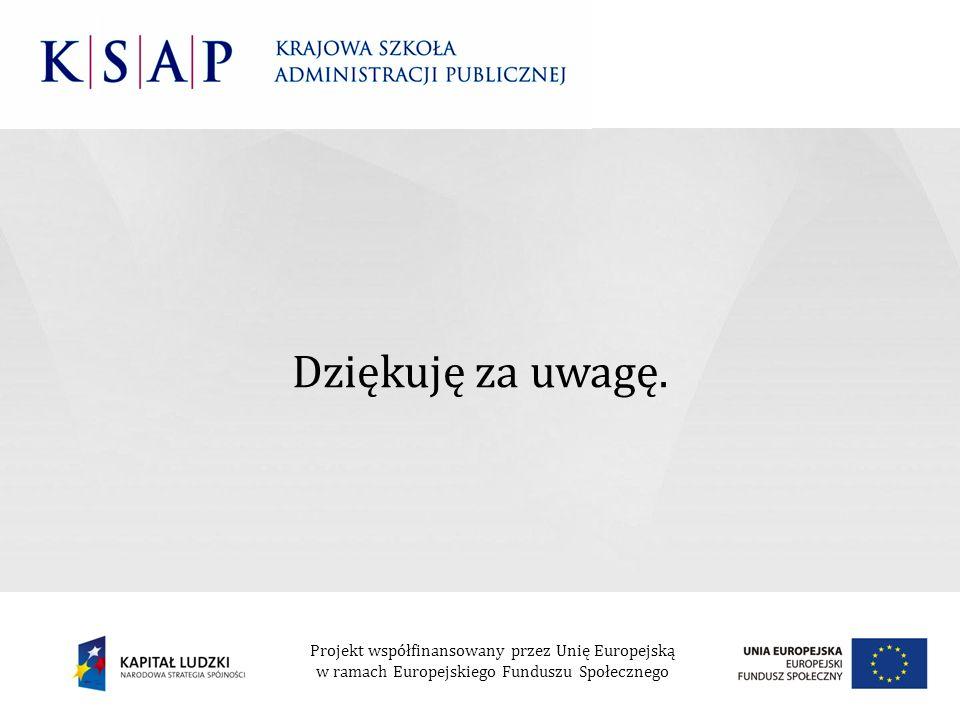 Dziękuję za uwagę. Projekt współfinansowany przez Unię Europejską w ramach Europejskiego Funduszu Społecznego