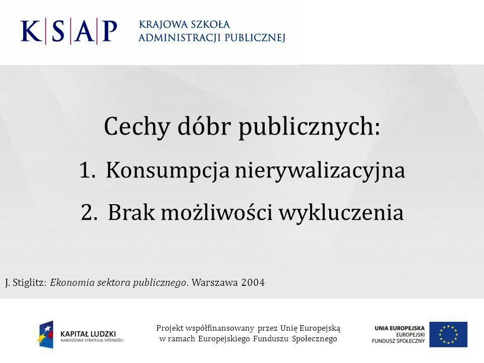 Cechy dóbr publicznych: 1.Konsumpcja nierywalizacyjna 2.Brak możliwości wykluczenia J. Stiglitz: Ekonomia sektora publicznego. Warszawa 2004 Projekt w
