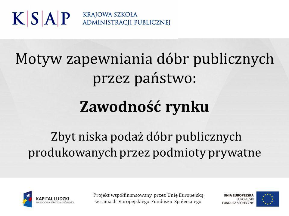 Motyw zapewniania dóbr publicznych przez państwo: Zawodność rynku Zbyt niska podaż dóbr publicznych produkowanych przez podmioty prywatne Projekt wspó