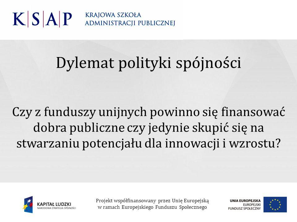 Dylemat polityki spójności Czy z funduszy unijnych powinno się finansować dobra publiczne czy jedynie skupić się na stwarzaniu potencjału dla innowacj