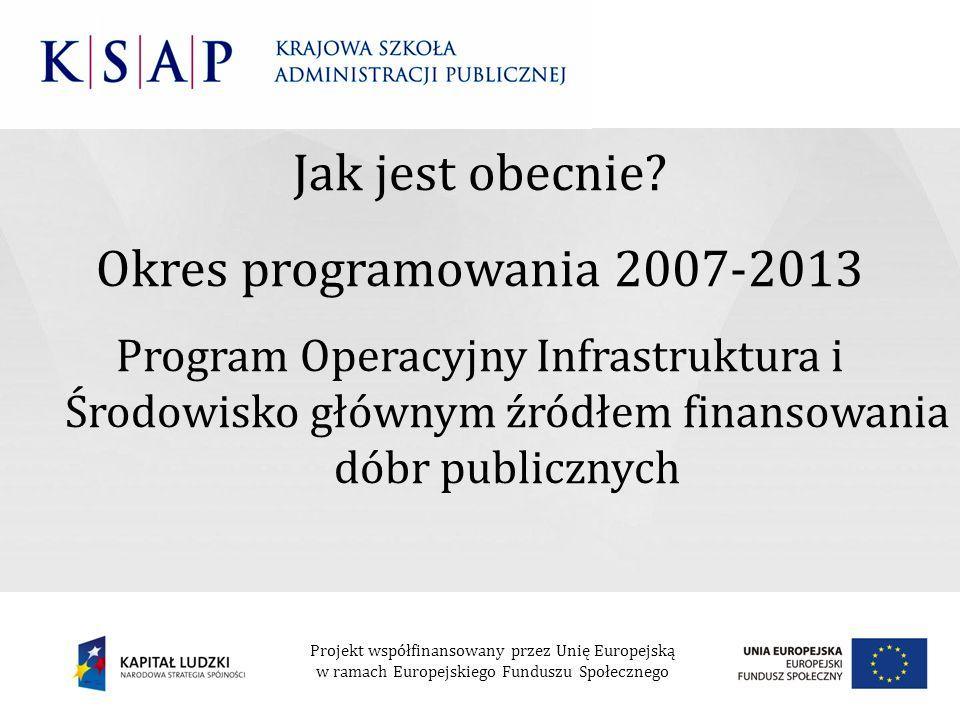 Jak jest obecnie? Okres programowania 2007-2013 Program Operacyjny Infrastruktura i Środowisko głównym źródłem finansowania dóbr publicznych Projekt w