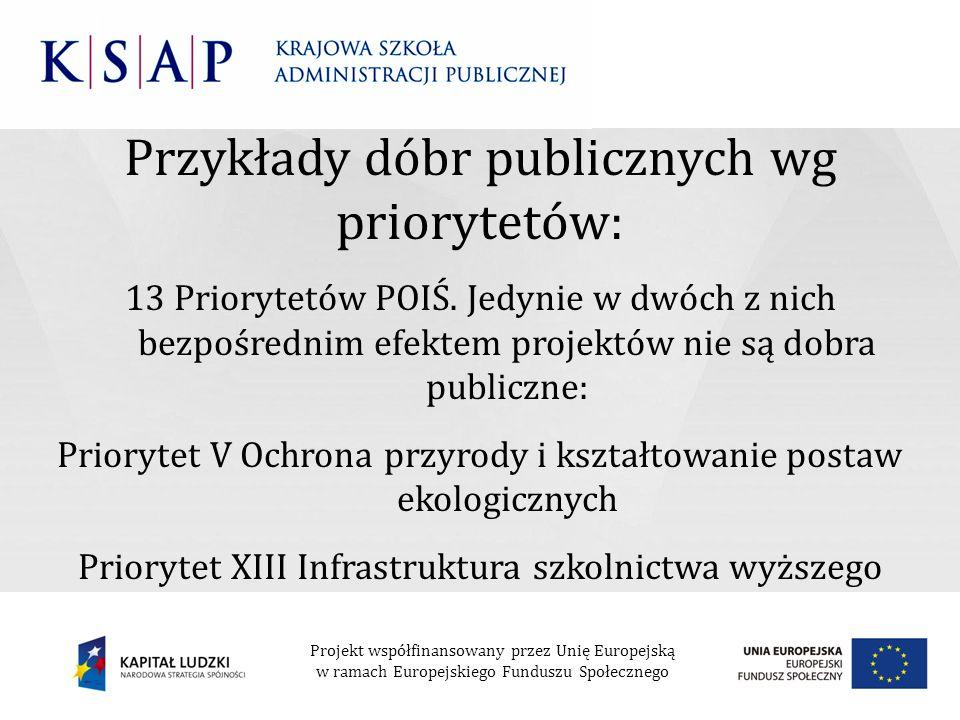 Przykłady dóbr publicznych wg priorytetów: 13 Priorytetów POIŚ. Jedynie w dwóch z nich bezpośrednim efektem projektów nie są dobra publiczne: Prioryte