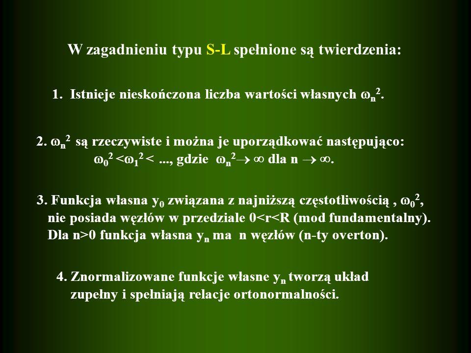 W zagadnieniu typu S-L spełnione są twierdzenia: 1. Istnieje nieskończona liczba wartości własnych n 2. 2. n 2 są rzeczywiste i można je uporządkować