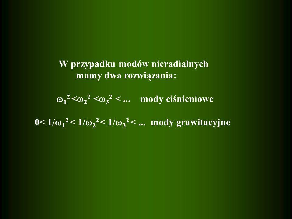 W przypadku modów nieradialnych mamy dwa rozwiązania: 1 2 < 2 2 < 3 2 <... mody ciśnieniowe 0< 1/ 1 2 < 1/ 2 2 < 1/ 3 2 <... mody grawitacyjne