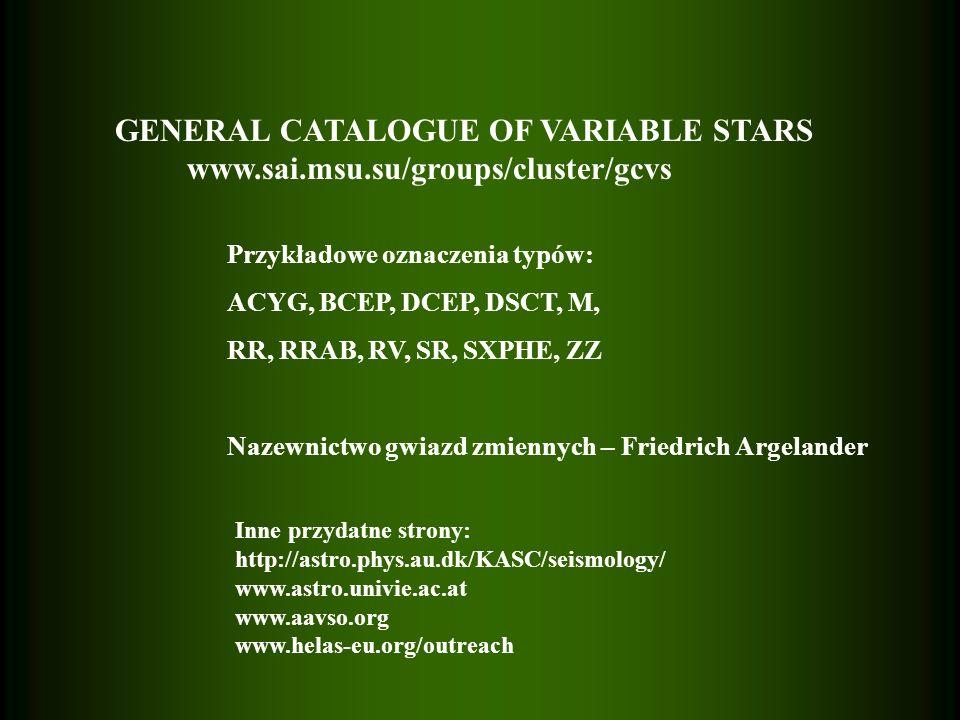 GENERAL CATALOGUE OF VARIABLE STARS www.sai.msu.su/groups/cluster/gcvs Przykładowe oznaczenia typów: ACYG, BCEP, DCEP, DSCT, M, RR, RRAB, RV, SR, SXPH