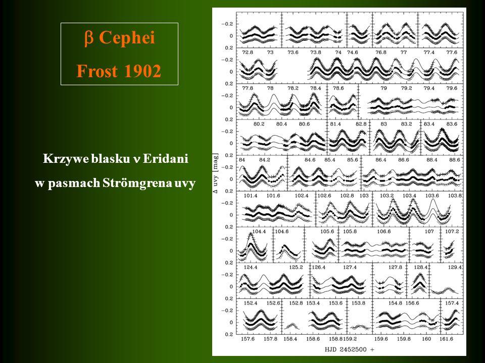 Cephei Frost 1902 Krzywe blasku Eridani w pasmach Strömgrena uvy
