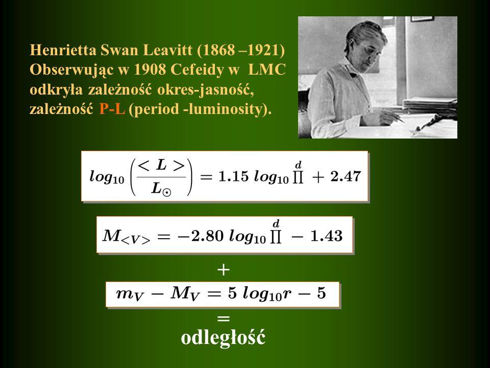 + = odległość Henrietta Swan Leavitt (1868 –1921) Obserwując w 1908 Cefeidy w LMC odkryła zależność okres-jasność, zależność P-L (period -luminosity).