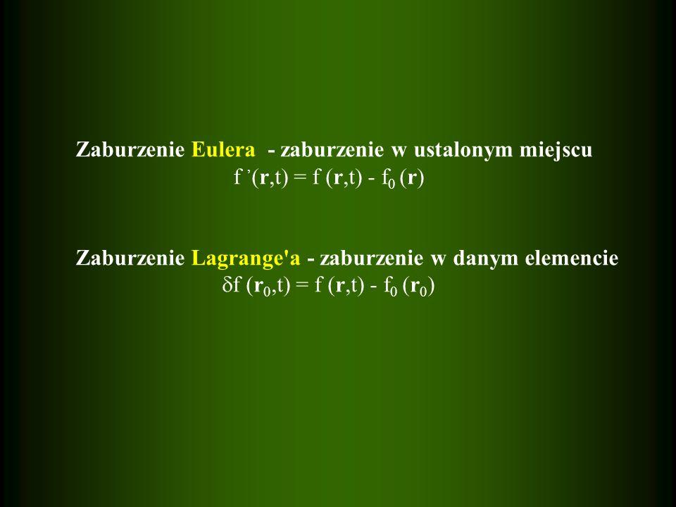 Zaburzenie Eulera - zaburzenie w ustalonym miejscu f (r,t) = f (r,t) - f 0 (r) Zaburzenie Lagrange'a - zaburzenie w danym elemencie f (r 0,t) = f (r,t