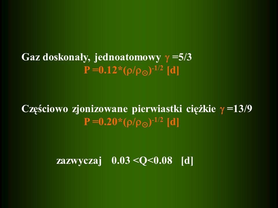 Gaz doskonały, jednoatomowy =5/3 P =0.12*( / ) -1/2 [d] Częściowo zjonizowane pierwiastki ciężkie =13/9 P =0.20*( / ) -1/2 [d] zazwyczaj 0.03 <Q<0.08