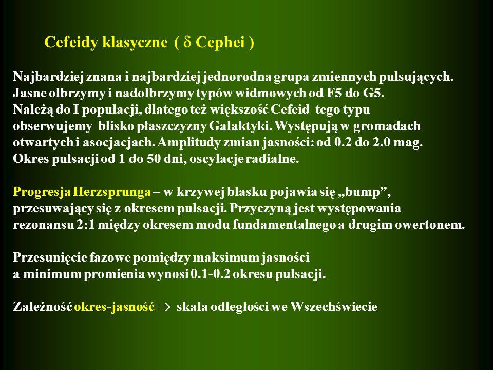 Cefeidy klasyczne ( Cephei ) Najbardziej znana i najbardziej jednorodna grupa zmiennych pulsujących. Jasne olbrzymy i nadolbrzymy typów widmowych od F