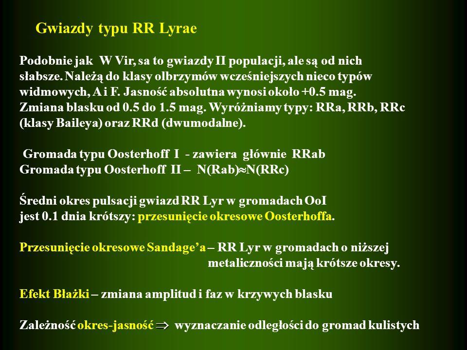 Gwiazdy typu RR Lyrae Podobnie jak W Vir, sa to gwiazdy II populacji, ale są od nich słabsze. Należą do klasy olbrzymów wcześniejszych nieco typów wid