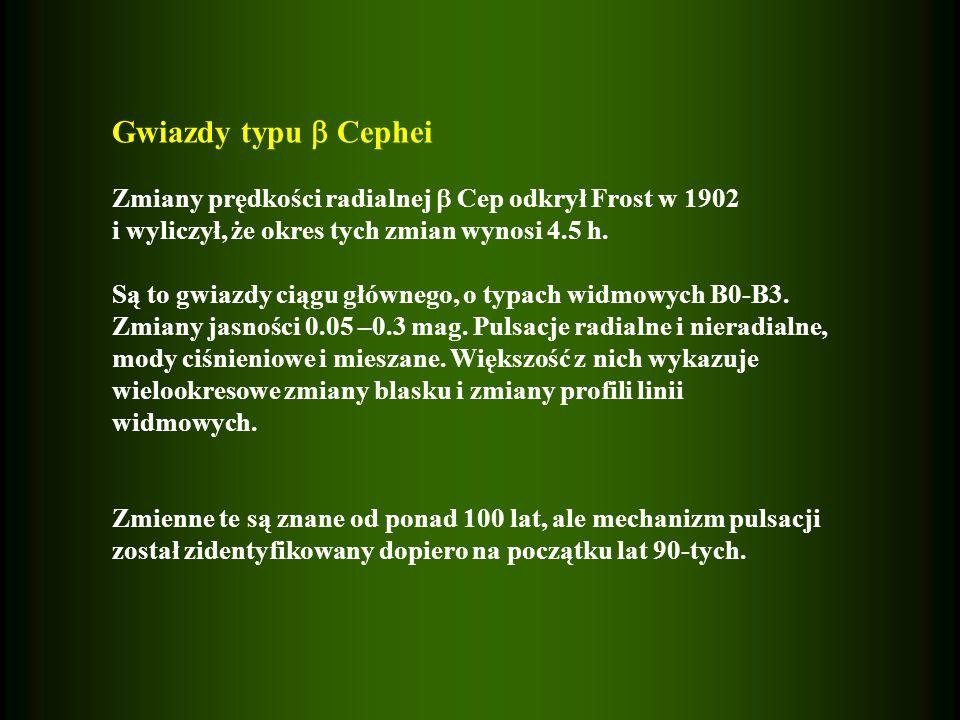 Gwiazdy typu Cephei Zmiany prędkości radialnej Cep odkrył Frost w 1902 i wyliczył, że okres tych zmian wynosi 4.5 h. Są to gwiazdy ciągu głównego, o t