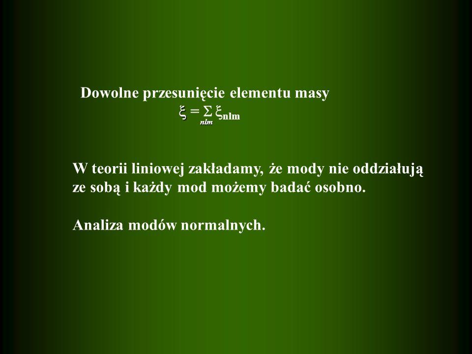 Przesunięcie elementu masy dla pojedynczego modu w układzie współrotującym (przybliżenie zerowej rotacji !) nlm = r [ y nlm (r) Y m (, )e r + z nlm (r) H Y m (, )] exp(-i n m t) n odpowiada liczbie węzłów spełniających równanie y nlm (r i )=0, i=1,2,..., n dla r 0