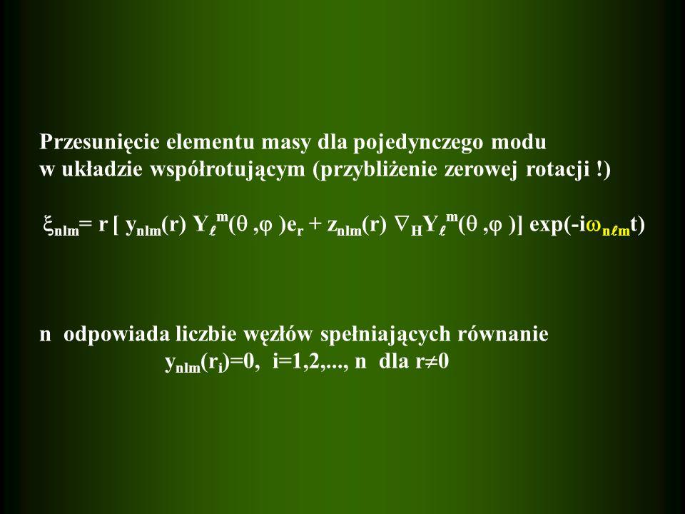 Przesunięcie elementu masy dla pojedynczego modu w układzie współrotującym (przybliżenie zerowej rotacji !) nlm = r [ y nlm (r) Y m (, )e r + z nlm (r