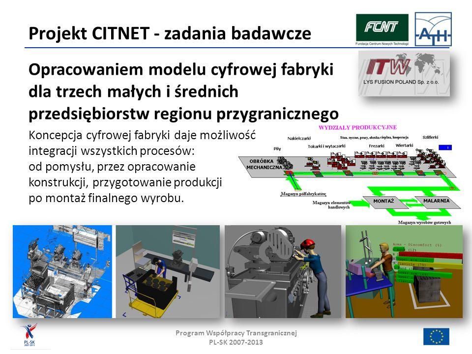 Projekt CITNET - zadania badawcze Opracowaniem modelu cyfrowej fabryki dla trzech małych i średnich przedsiębiorstw regionu przygranicznego Koncepcja cyfrowej fabryki daje możliwość integracji wszystkich procesów: od pomysłu, przez opracowanie konstrukcji, przygotowanie produkcji po montaż finalnego wyrobu.