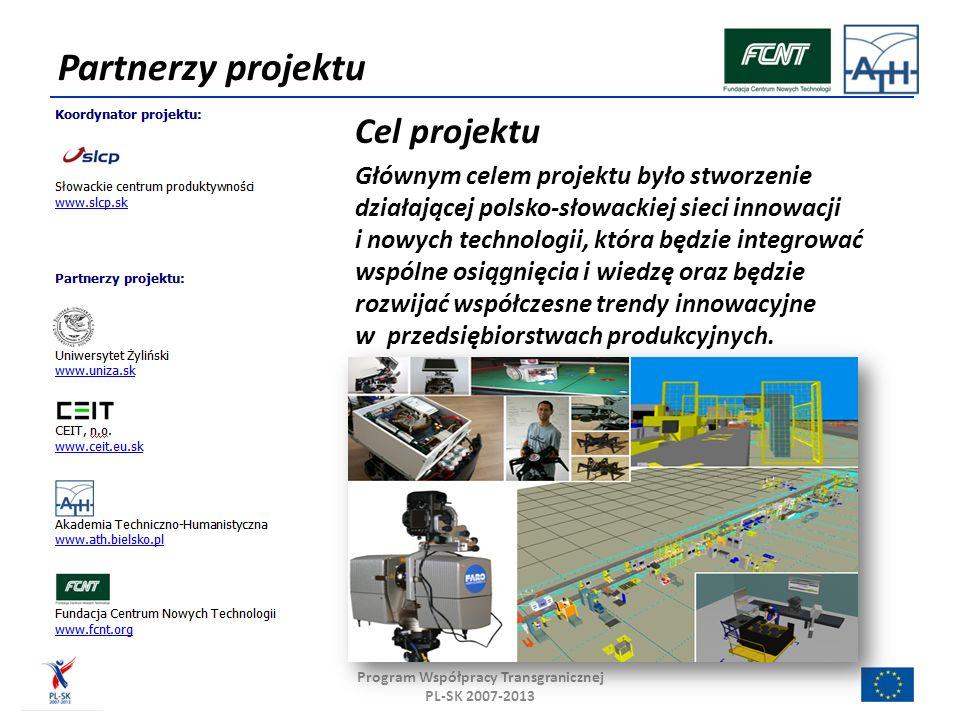 Partnerzy projektu Cel projektu Głównym celem projektu było stworzenie działającej polsko-słowackiej sieci innowacji i nowych technologii, która będzie integrować wspólne osiągnięcia i wiedzę oraz będzie rozwijać współczesne trendy innowacyjne w przedsiębiorstwach produkcyjnych.
