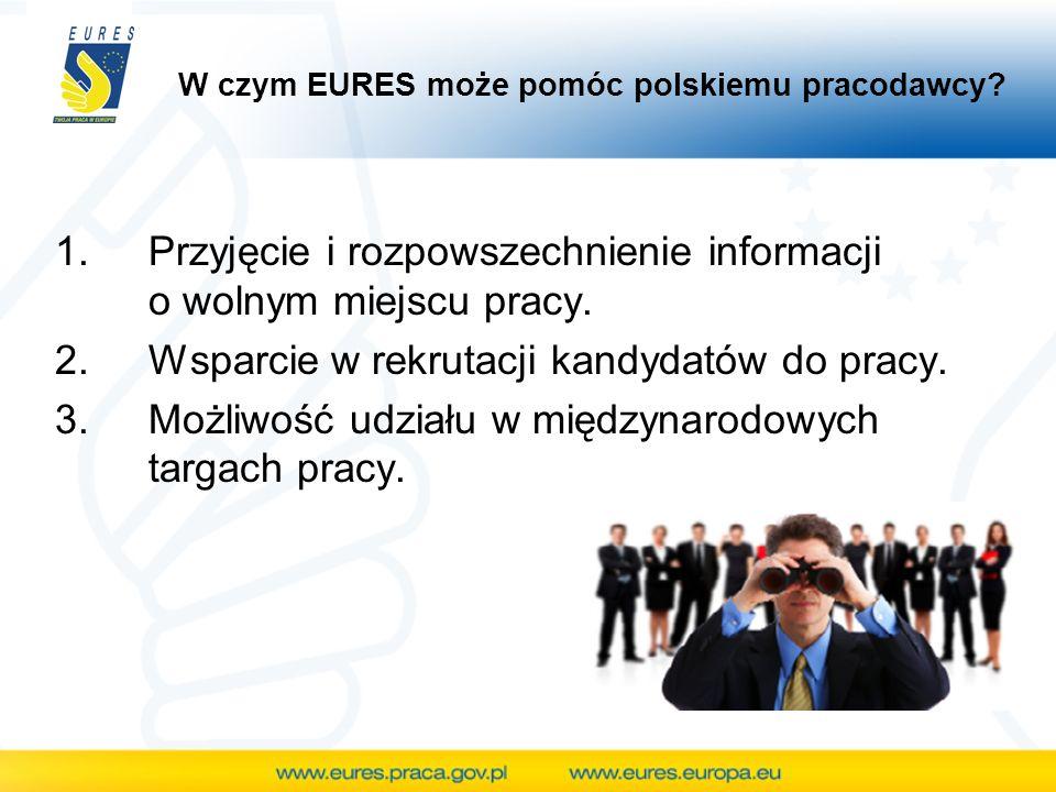 W czym EURES może pomóc polskiemu pracodawcy? 1.Przyjęcie i rozpowszechnienie informacji o wolnym miejscu pracy. 2.Wsparcie w rekrutacji kandydatów do