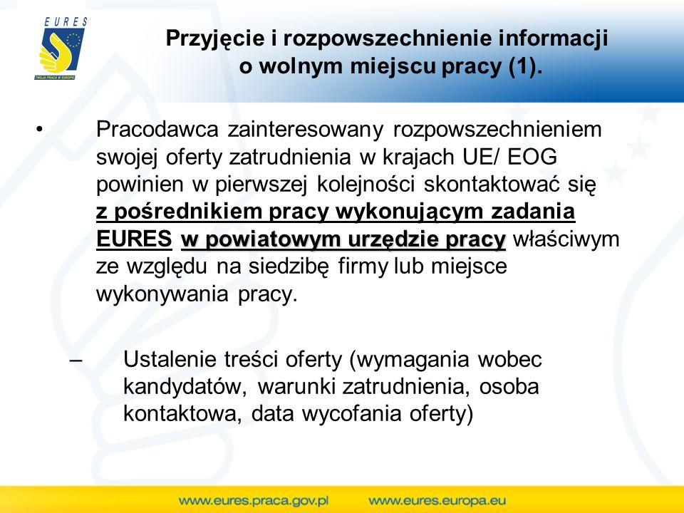 Przyjęcie i rozpowszechnienie informacji o wolnym miejscu pracy (1). w powiatowym urzędzie pracyPracodawca zainteresowany rozpowszechnieniem swojej of