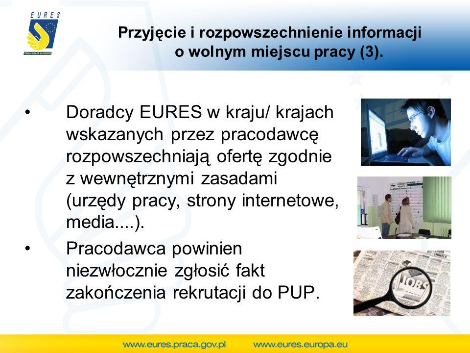Przyjęcie i rozpowszechnienie informacji o wolnym miejscu pracy (3). Doradcy EURES w kraju/ krajach wskazanych przez pracodawcę rozpowszechniają ofert