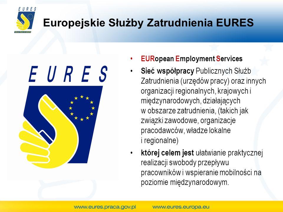 Europejskie Służby Zatrudnienia EURES EURopean Employment Services Sieć współpracy Publicznych Służb Zatrudnienia (urzędów pracy) oraz innych organiza